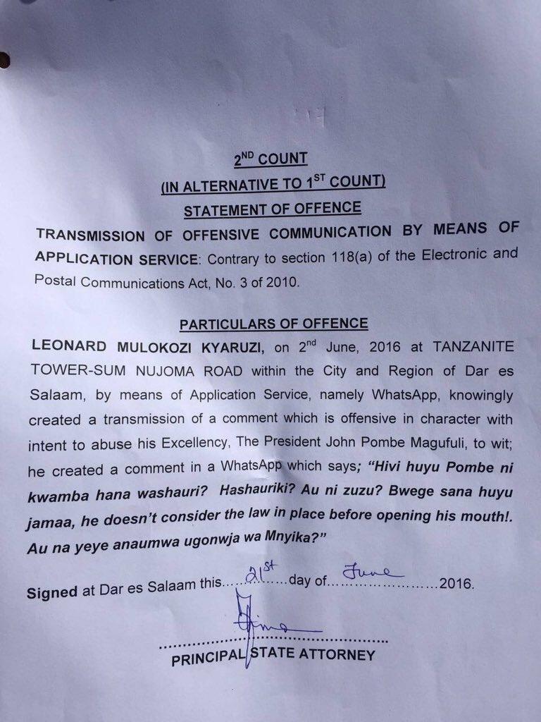 Offence Tanzania 21.06.2016