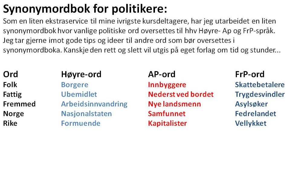 Ord for Politikere