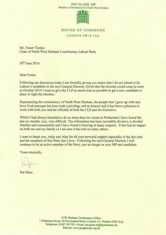 Pat Glass MP Letter 28.06.2016