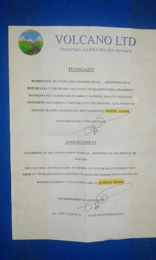 Rwanda Burundi YF Announcement