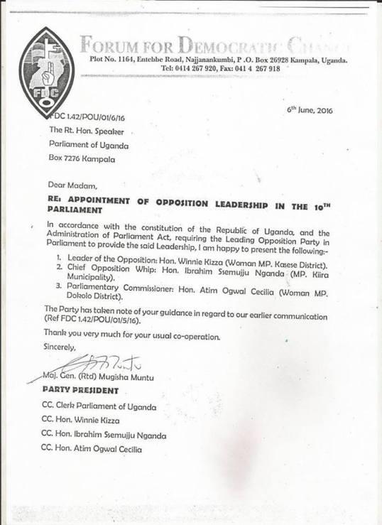 Uganda Parliament FDC 06.06.2016