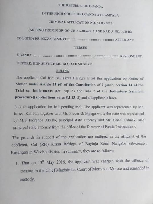 Besigye Bond Paper 12.07.2016 P1