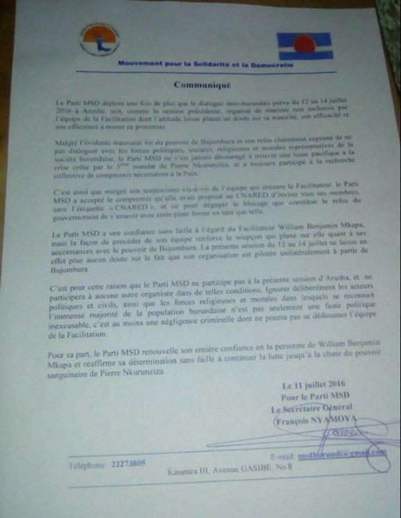 Burundi 11.07.2016 Letter Dialogue
