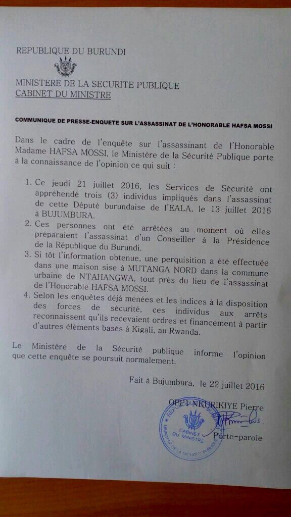 Burundi Communique 22.07.2016