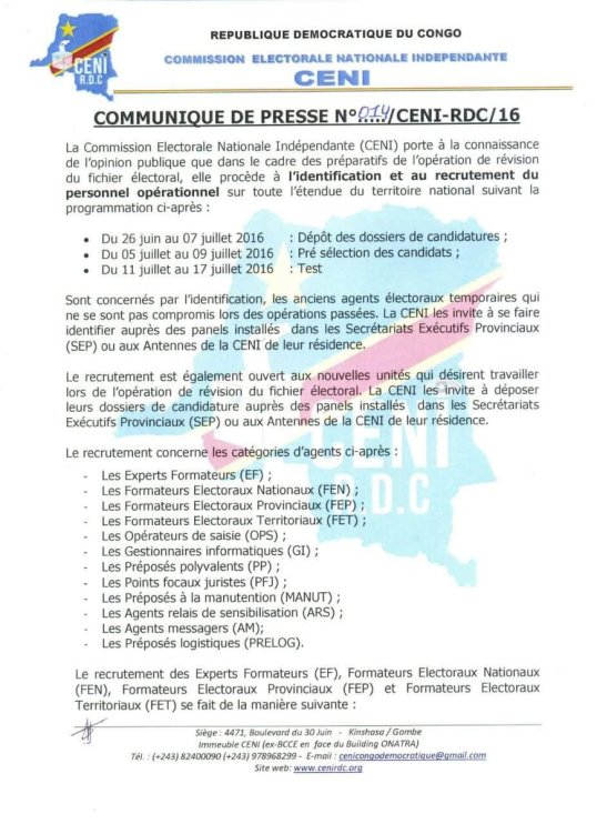 Ceni DRC 30.06.2016