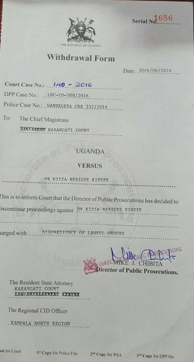 FDC Besigye Disobey Lawsuit 01.07.2016
