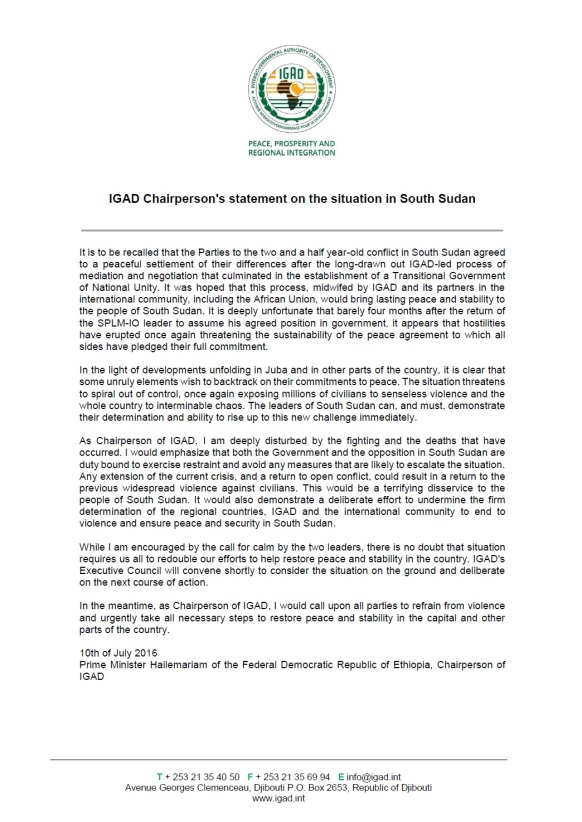 IGAD July 2016 Statement South Sudan