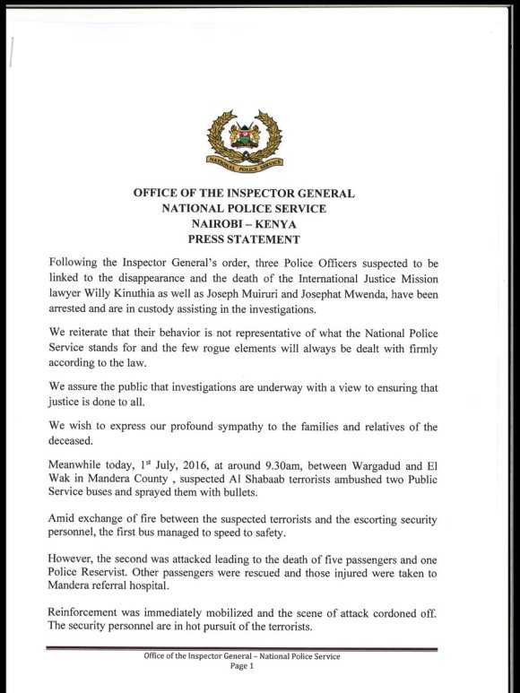 Kenya Police Statement 01.07.2016 P1