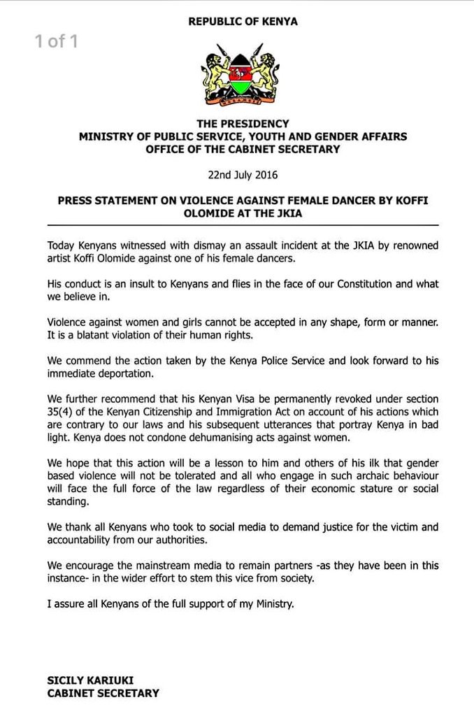 Kenya PR Statement 22.07.2016 Koffi