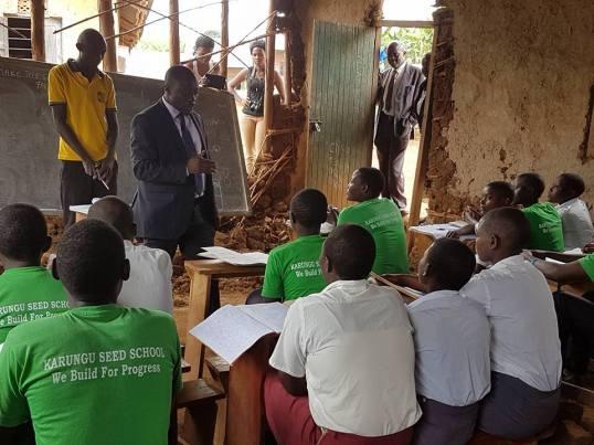 "Hon. Francis Mwijukye said: ""Today I visited Karungu government secondary in Karungu subcounty- Buhweju district where I found students studying under very disturbing circumstances"" (Mwijukye, 25.06.2016)"