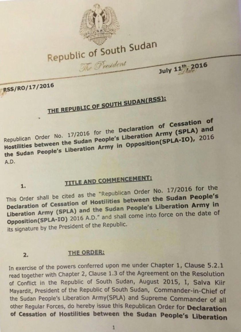 South Sudan Cease Fire Order July 2016 P1