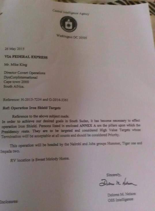 South Sudan CIA Letter 2016