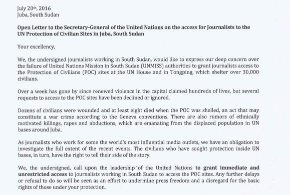 South Sudan Letter 20.07.2016