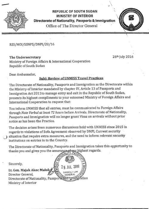 South Sudan Letter 26.07.2016