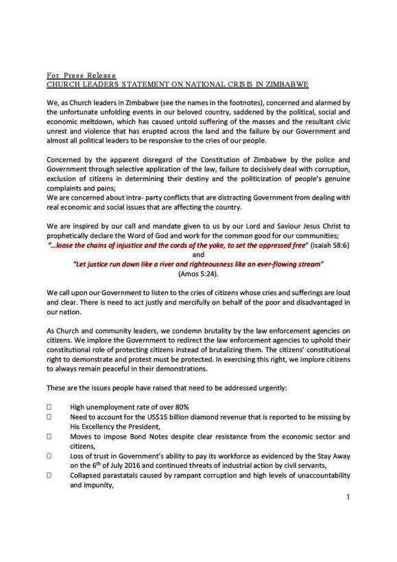 Zim Church Statement July 2016 P1