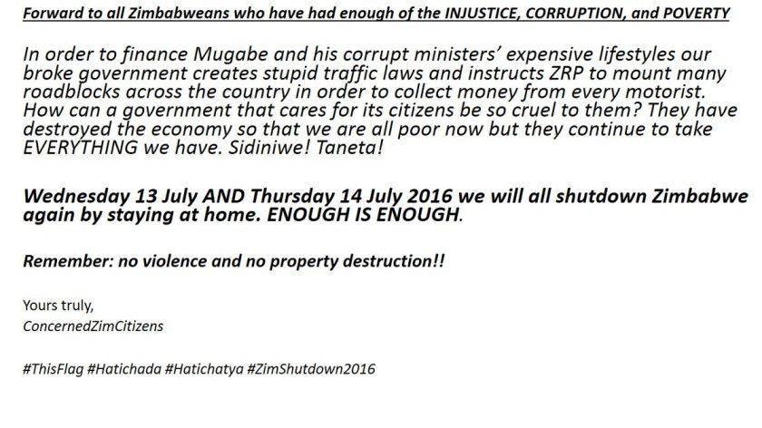 Zim Message July 2016