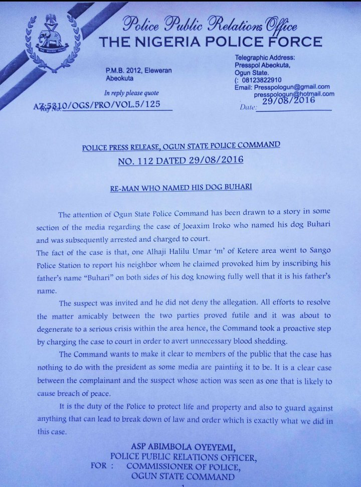 Buhari Dog Statement 29.08.2016