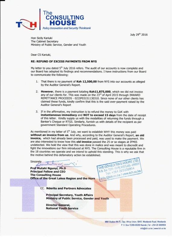CS Karuki letter Odinga 29.07.2016