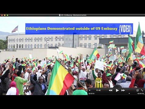 Ethiopia Addis Demo outside US Embassy