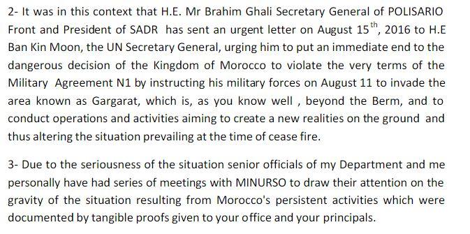Frente Polisario Minurso UN Letter P3