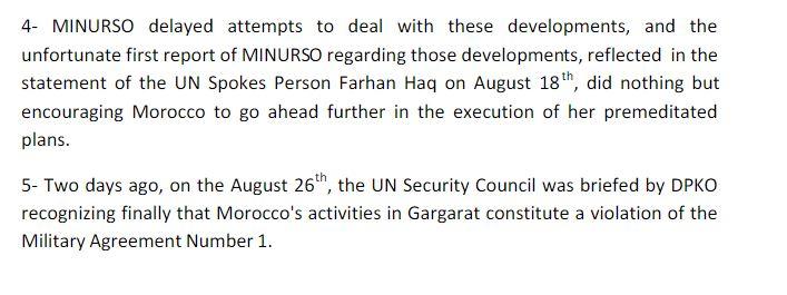 Frente Polisario Minurso UN Letter P4