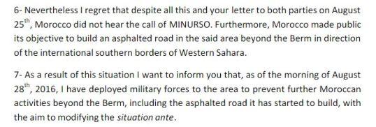 Frente Polisario Minurso UN Letter P5
