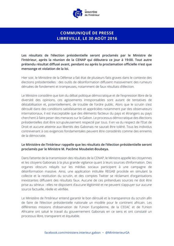 Gabon Communique Libreville 30.08.2016
