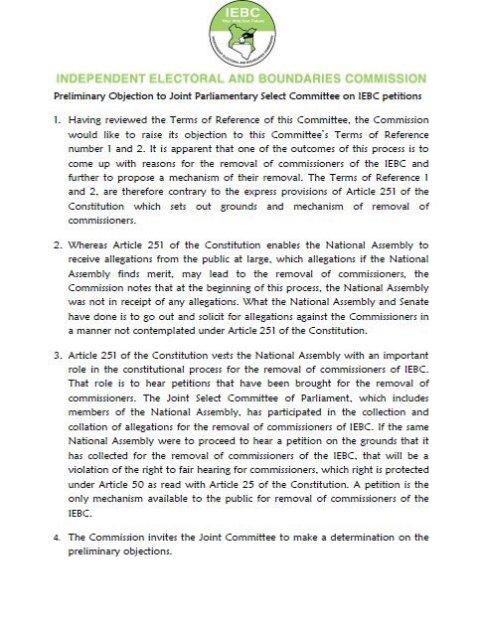 IEBC Prelimenary Statement 01.08.2016