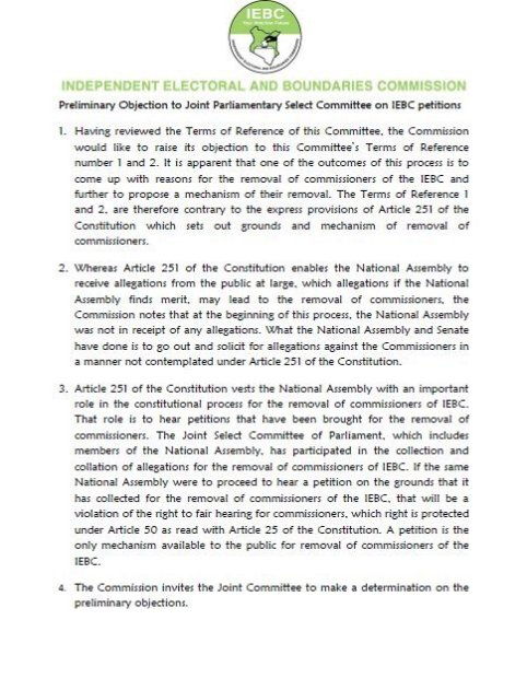 IEBC Prelimenary Statement 01.08.2016