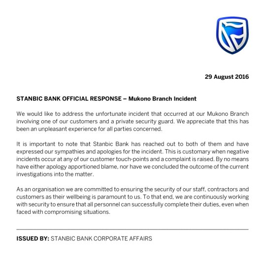 Stanbic Offical Responce 29.08.2016