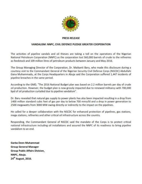 Vandalism Nigeria 24.08.2016