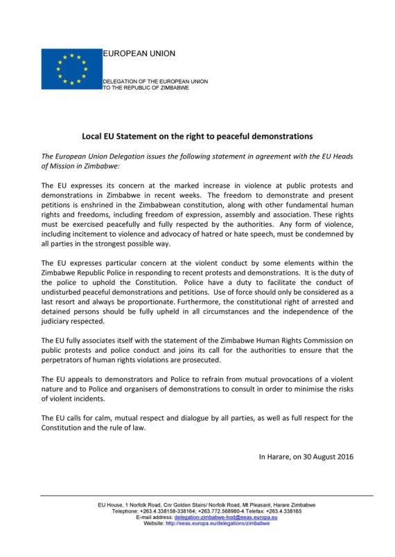 Zimbabwe EU Statement Aug 2016