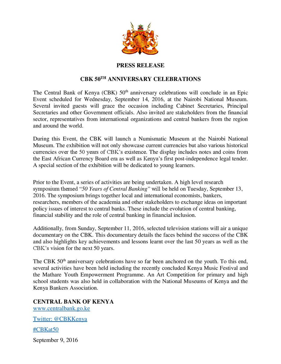 Kenyan Cabinet Secretaries Kenya Cbk 50th Anniversary Celebration 09092016 Minbane