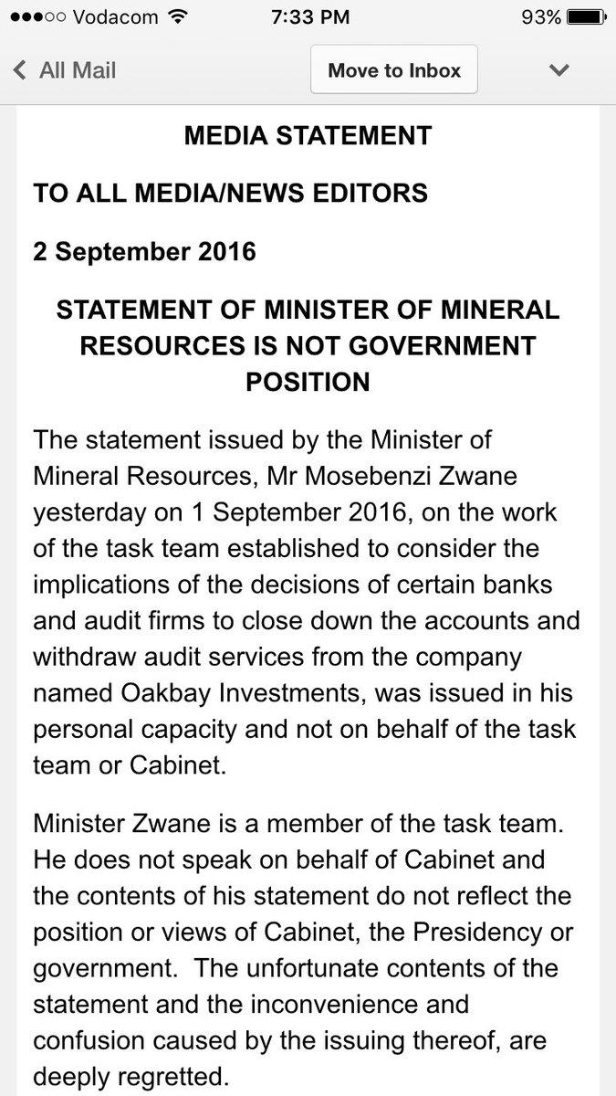 Mineral Minister ZA P1