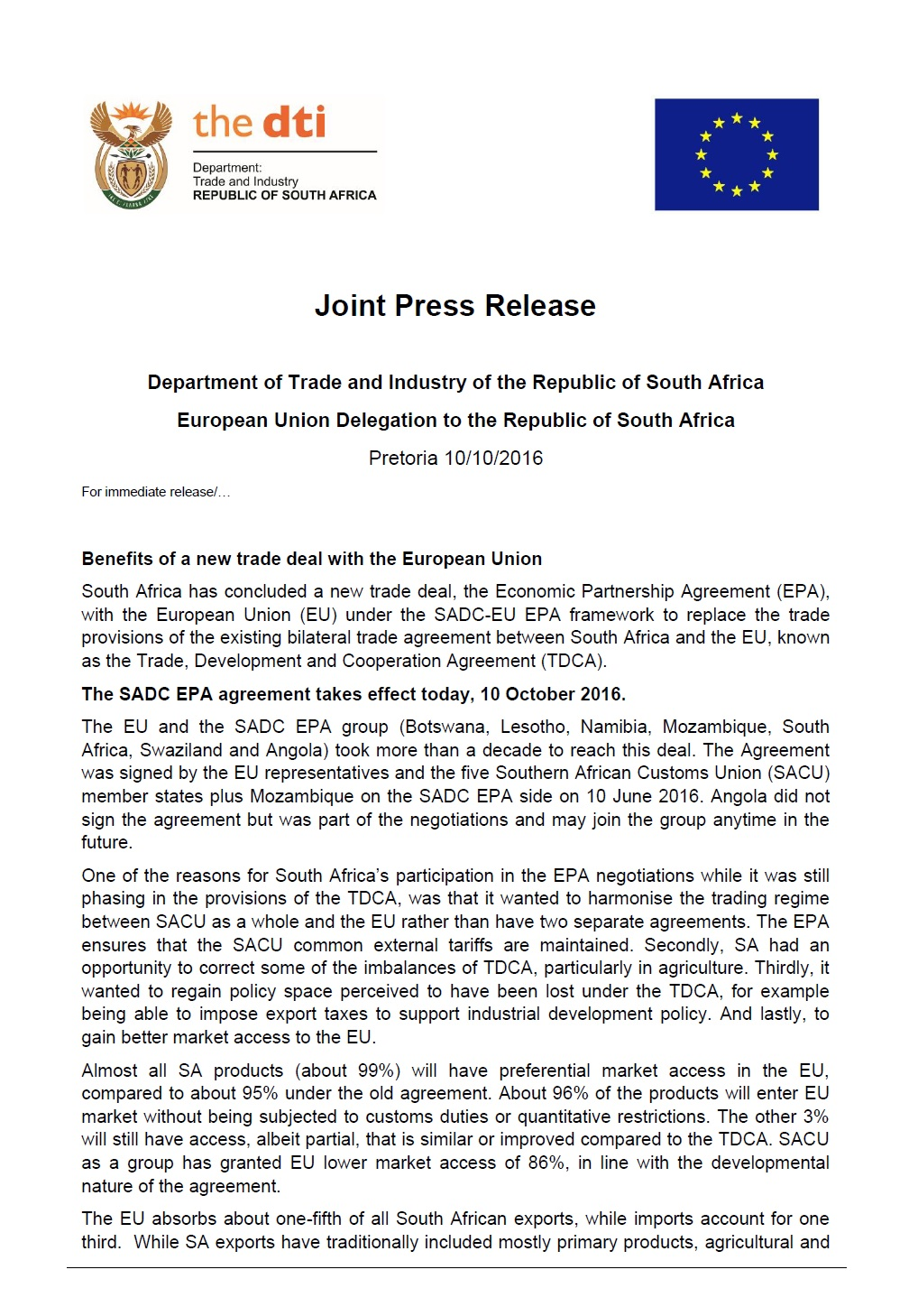 South Africa Sadc Epa Agreement With The Eu Takes Effect Today