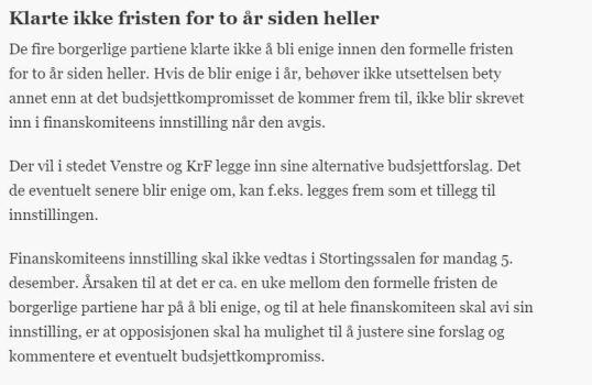 Solveig Ruud skrev i Aftenposten kl. 18.01 den 20. November 2016 om Budsjettforhandlingene.
