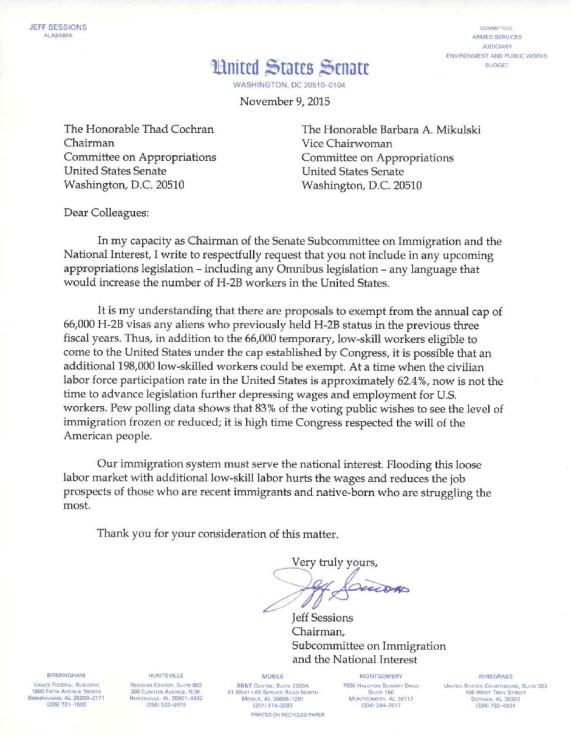 Senator Sessions Letter 2015