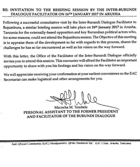 Letter re invitation to the briefing session by the inter letter re invitation to the briefing session by the inter burundi dialogue facilitator on 16th january 2017 in arusha 11012017 stopboris Images