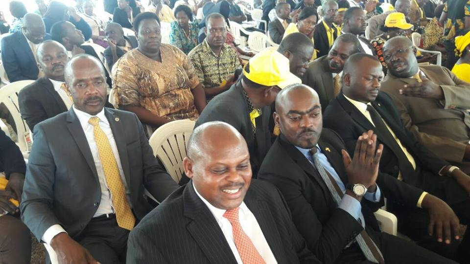 """The folding his hands like """"birdman"""" is Mbidde on the NRM Celebration of their 31st year in Masindi recently!"""