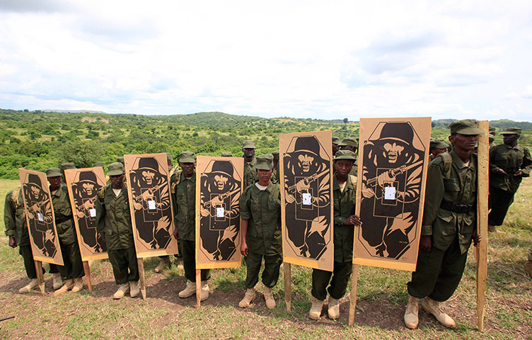 Somali National Army training at Bihanga Military Training School, Uganda