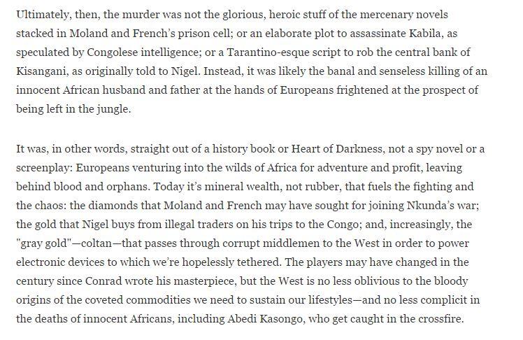 James Bamford skriver dette i artikkleN 'Raiders of the Congo' i GQ Magasin den 7. November 2012