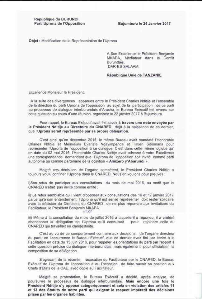Burundi HE Mpaka manipule la dlgation de lopposition pour le