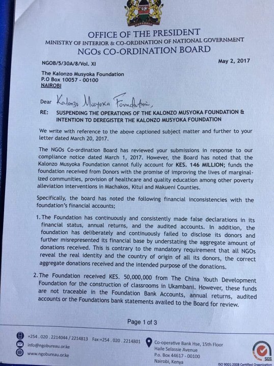 kenya letter from the office of the president re suspending the operations of the kalonzo musyoka foundation intention to deregister the kalonzo