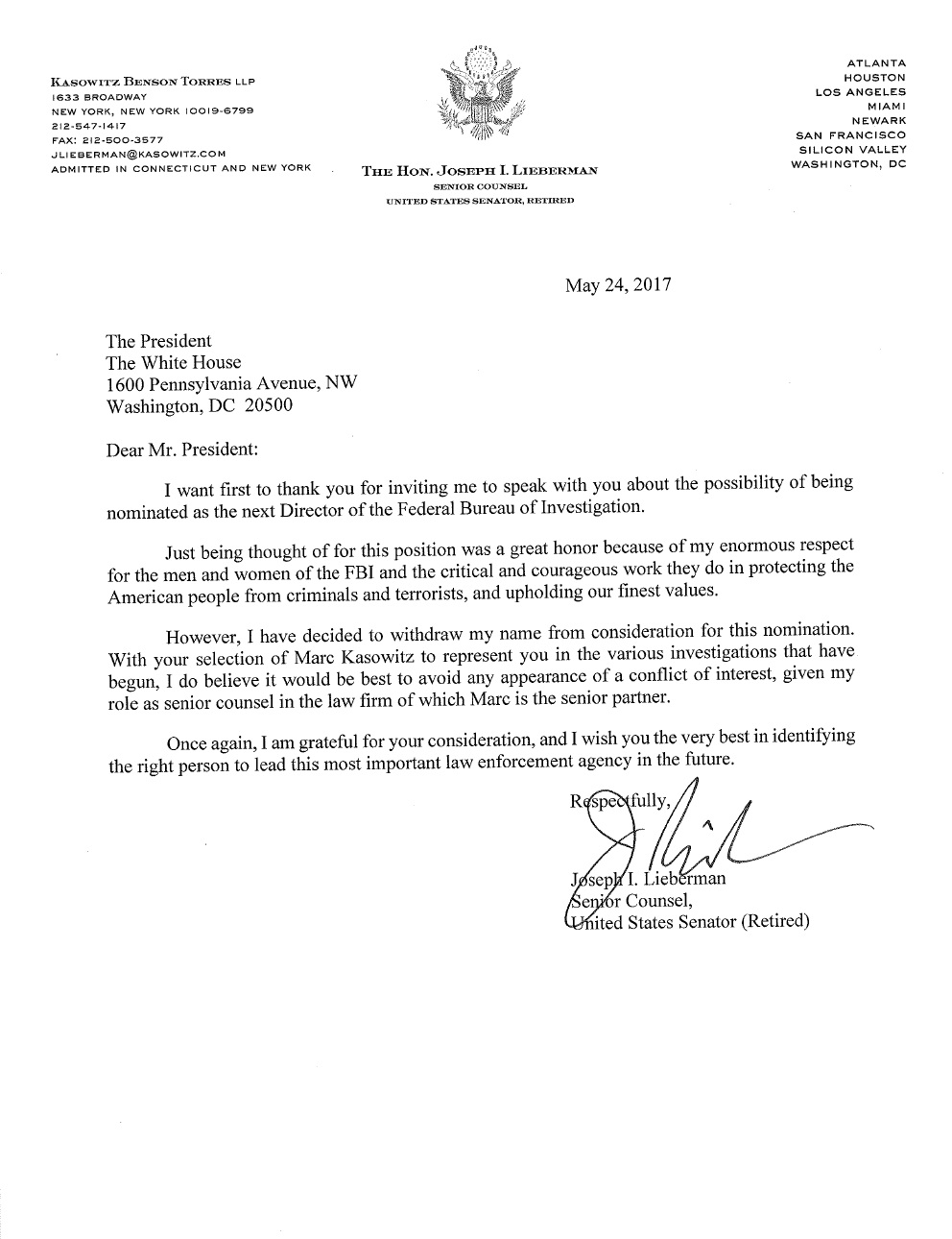 Usa Joseph Lieberman Letter To President Trump Asking To