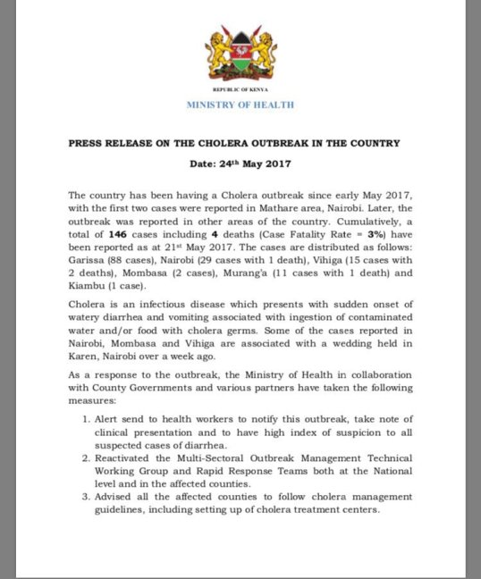 Kenya: Press Release on the Cholera Outbreak in the Country (24.05.2017)
