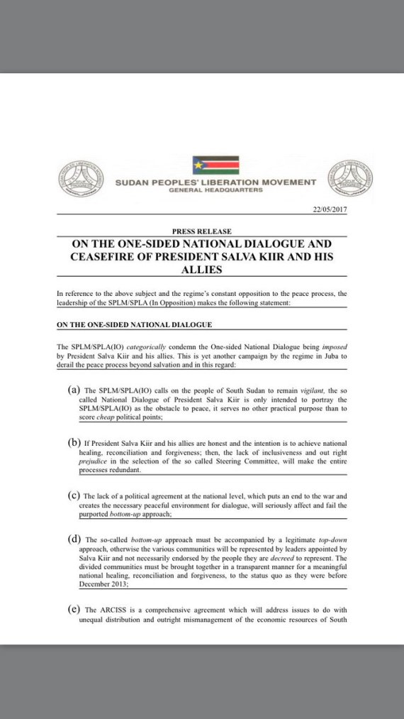 Splm Io On The One Sided National Dialogue And Ceasefire Of