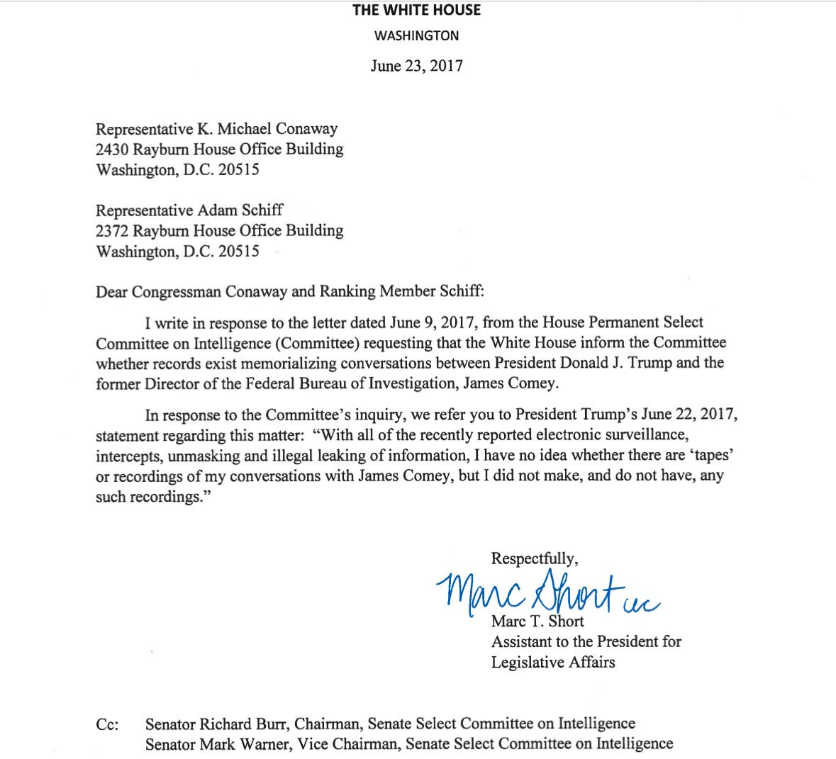 White House letter to Select Committee on Intelligence on the Comey ...
