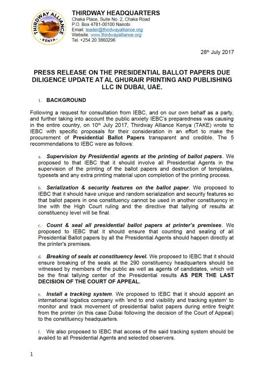 "Kenya: Thirdway Alliance – ""Press Release on the Presidential Ballot ..."
