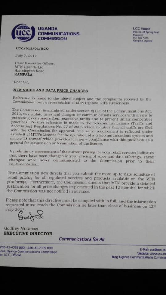"Uganda Communication Commission letter to MTN on ""MTN Voice"