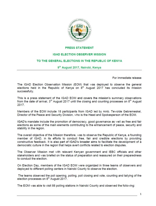 Press statement igad election observer mission to the general press statement igad election observer mission to the general election in the republic of kenya 9th august 2017 nairobi kenya thecheapjerseys Gallery